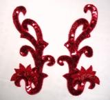 "0020 Sequin Beaded Appliques Red Mirror Pair 8"""