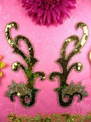 """0020  Olive Green Mirror Pair Sequin Beaded Appliques 8"""""""