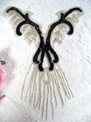 0021 Black Silver Yoke Sequin Beaded Applique 12""