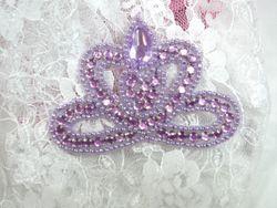 "0025  Lavender Crown Jewel Rhinestone Beaded  Applique 3"""