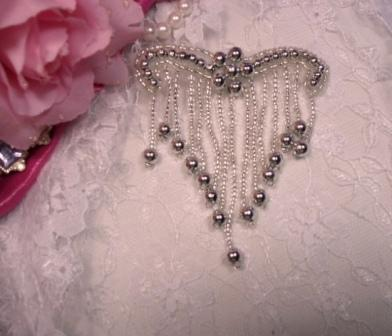 "A0229 Elegant Silver  Beaded Victorain  Applique 3.25"""