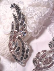 """REDUCED Silver Mirror Pair Sequin Beaded Appliques 6.25"""" (RM0033)"""