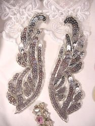 "REDUCED Silver Mirror Pair Sequin Beaded Appliques 6.25"" (RM0033)"