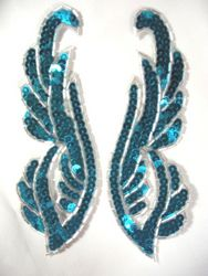 """0033 Turquoise Silver Mirror Pair Sequin Beaded Appliques 6.25"""""""
