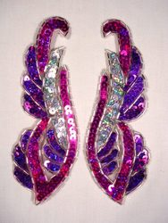 "0033 Fuchsia Purple Silver Holographic Mirror Pair Sequin Beaded Appliques 6"""