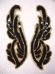 "0033 Black Sequin Gold Beaded Mirror Pair Appliques 6.25"""