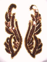 "0033 Bronze Mirror Pair Sequin Beaded Appliques 6.25"""