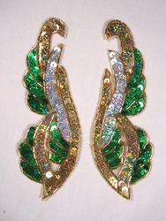 """0033 Green Silver Gold Holographic Mirror Pair Sequin Beaded Appliques 6"""""""