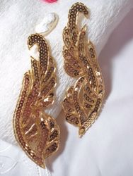 "0033 Gold Mirror Pair Sequin Beaded Appliques 6.25"""