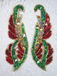 "0033 Christmas Mirror Pair Sequin Beaded Appliques 6"""