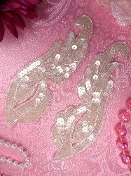 """0033 Appliques Crystal Mirror Pair Sequin Beaded 6.25"""""""