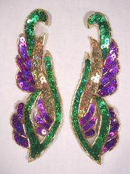 """0033 Purple Green Gold Pair Sequin Beaded Appliques 6"""""""