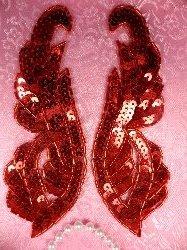 "0033 Red Appliques Mirror Pair Sequin Beaded 6.25"""
