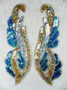 """0033 Turquoise Gold Silver edged Mirror Pair Beaded Sequin Appliques 6"""""""