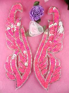 """0033 Hot Pink Silver Mirror Pair Sequin Beaded Appliques 6.25"""""""