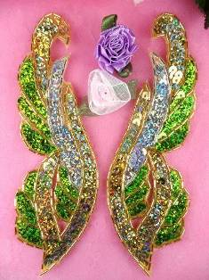 """0033 Lime Green Gold Silver Mirror Pair Sequin Beaded Appliques 6.25"""""""