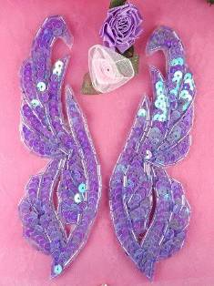 0033 Lavender Mirror Pair Sequin Beaded Appliques 6.25""