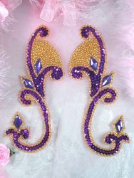 """0034 Purple & Gold Jeweled Mirror Pair Sequin Beaded Appliques 6"""""""