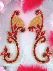 0034  Red & Gold Beaded Sequin Appliques Mirror Pair