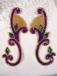 """0034 Purple Green Jeweled Mirror Pair Sequin Beaded Appliques 6"""""""