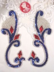 OS0034 (LEFT SIDE ONLY) Patriotic Jeweled Sequin Beaded Appliques 6""