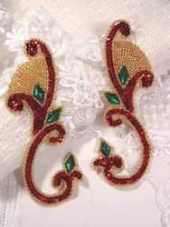 """0034 Red Green Jeweled Mirror Pair Sequin Beaded Appliques 6"""""""