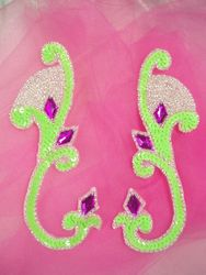 """0034 Lime Green Jeweled Mirror Pair Sequin Beaded Appliques 6"""""""