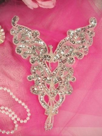 """0035 Silver Heart Bodice Yoke Sequin Beaded Applique 8"""""""
