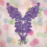 "0035 Lavender Iris Heart Bodice Yoke 8"" Sequin Beaded Applique"