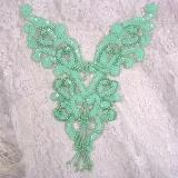 """0035 Mint Green Heart Bodice Yoke 8"""" Sequin Beaded Applique"""