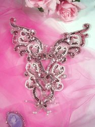 """PINK CRYSTAL AB YOKE SEQUIN BEADED APPLIQUE 8.5/"""" 0035"""