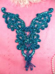 "0035 Turquoise Heart Bodice Yoke 8"" Sequin Beaded Applique"