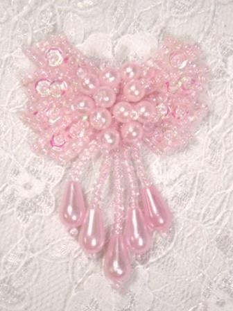 """0036  Pink Bow Sequin Beaded Applique 2.5"""""""