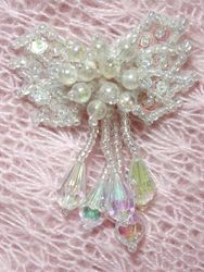 """0036  Crystal AB Bow Sequin Beaded Applique 2.5"""""""