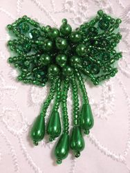 HB6300  Green Bow Sequin Beaded Hair Bow 2.5""