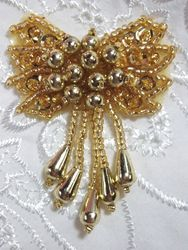 """0036  Gold Bow Sequin Beaded Applique 2.5"""""""