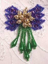 "0036  Purple Green Bow Sequin Beaded Applique 2.5"""