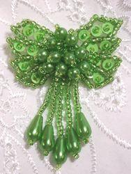 "0036  Neon Lime Green Bow Sequin Beaded Applique 2.5"""