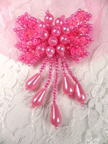 0036 Hot Neon Pink Bow Sequin Beaded Applique 2.5""