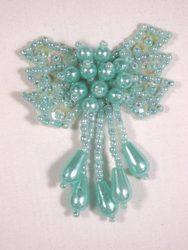"0036  Lt. Green Aqua Turquoise Bow Sequin Beaded Applique 2.5"""