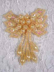 """0036  Yellow Pearl AB Bow Sequin Beaded Applique 2.5"""""""