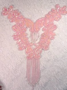0037  Pink Bodice Yoke Beaded Sequin Applique