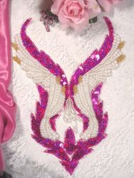 0047 Fuchsia & Pearl Bodice Beaded Sequin Applique 11""