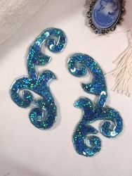 """0050 Turquoise Holographic Mirror Pair Sequin Beaded Appliques 4"""""""
