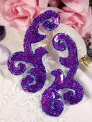 """0050 Purple Mirror Pair Sequin Beaded Appliques 4"""""""