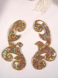 """0050 Gold Holographic Mirror Pair Sequin Beaded Appliques 4"""""""