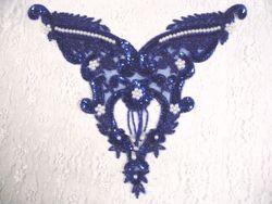 "0055 Royal Blue Pearl Bodice Beaded Sequin Applique 11"""