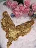 "0060 Gold Bodice Sequin Beaded Applique 11"""