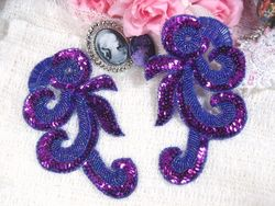 """0069 Purple French Curl Sequin Beaded Appliques 6.5"""""""