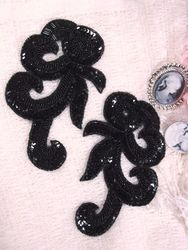 """0069 Black French Curl Sequin Beaded Appliques 6.5"""""""